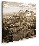 deyoli Holzhaus mit Aussicht auf einen Atemberaubenden Berg Format: 60x60 Effekt: Sepia als Leinwandbild, Motiv auf Echtholzrahmen, Hochwertiger Digitaldruck mit Rahmen, Kein Poster oder Plakat
