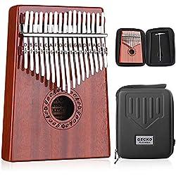GECKO Kalimba 17 Keys Thumb Piano builts-en caja de protección EVA de alto rendimiento, martillo de afinación e instrucción de estudio.