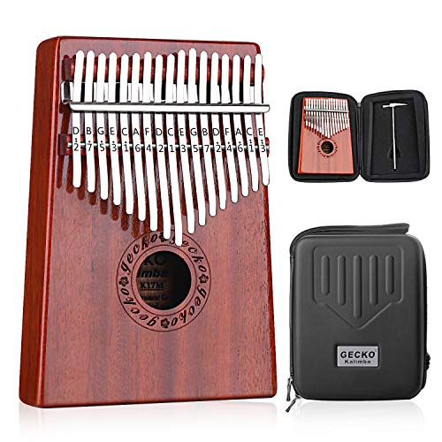 GECKO Kalimba 17 Tasten Thumb Piano baut EVA-Hochleistungsschutzbox, Stimmhammer und Lernanleitung ein. -