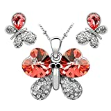 Parure de bijoux Collier avec Pendentif de Papillon boucles d'oreilles clous en forme de cœur en cristal Swarovski Padparacha Rouge