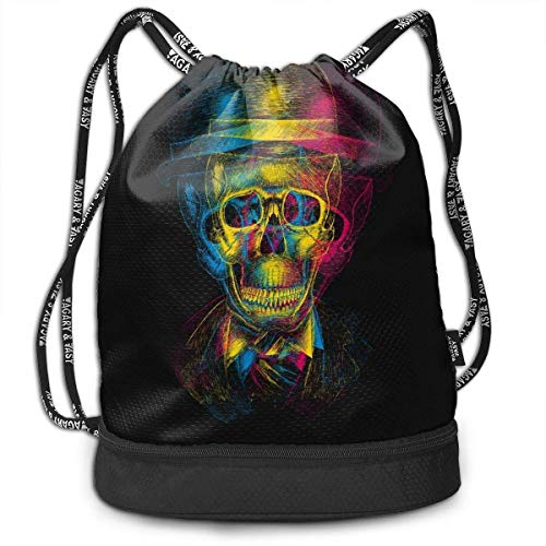 Cool Mexico Sugar Skull (7) Drawstring Bag for Men & Women - Cinch Backpack Sackpack Tote Sack with Wet & Dry Compartments for Travel Hiking Gym (7 Cinch-lcd)