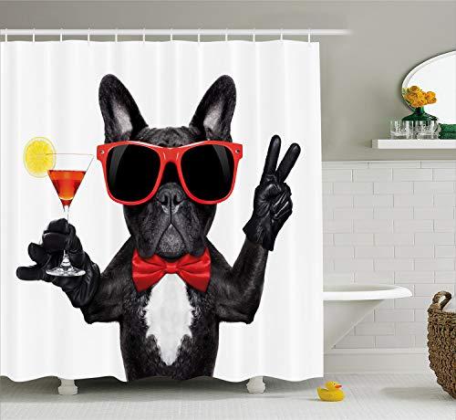 ABAKUHAUS Divertente Tenda da Doccia, Francese Bulldog Tiene Cocktail Martini Pronto per Il Party Vita Notturna Gioia, Stampa di Tendenza su Tessuto, 175 x 200 cm, Multicolore