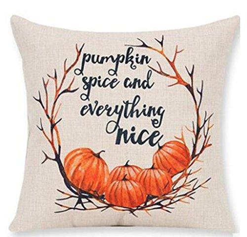 ITFRO Halloween kürbis maple leaf kranz cotton linen kissenbezug sofa dekorative polster auf 18 x 18 - zoll - (Kränze Halloween)