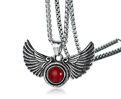 Vnox Antike Männer Edelstahl rote Achat Doppelte Engel Flügel Anhänger Halskette,freie Weizenkette