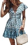 Angashion Damen Sommerkleid Blumendruck Kleid V-Ausschnitt Minikleid Kurze Ärmel Strandkleider Und Playsuit Jumpsuit 047 Blau S