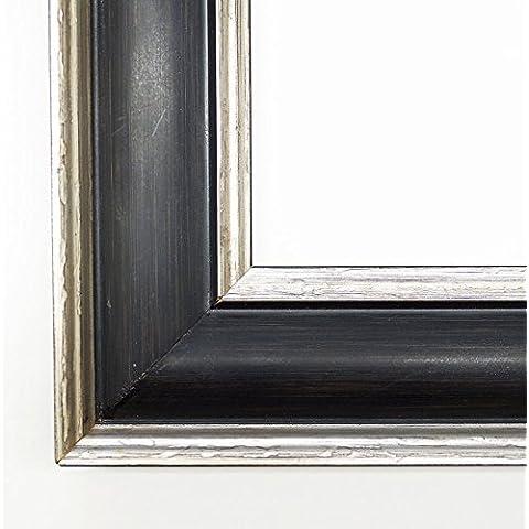 Cornice Fenice Nero 4,9 - vuoto telaio senza vetro 80 x 90 cm - dimensioni varie a scelta - altre varianti con luce normale vetro, Museo vetro, Plexiglas disponibili in negozio - anticato, Modern
