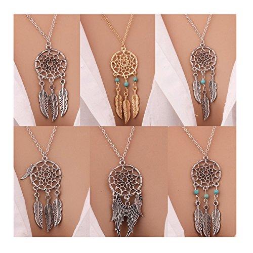 Meetlight Boho Dream Catcher - Collar para mujer, diseño de flor turquesa con cadena larga (al azar, 4 unidades)
