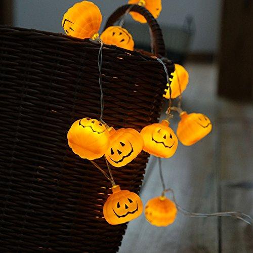 hangqi 10LED Batteriebetrieben Kürbis Lichterkette Licht Halloween Party Dekoration