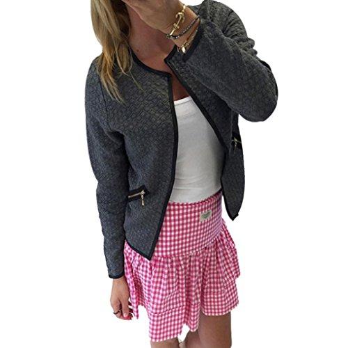 Sannysis Damen Langarm Lattice Tartan Cardigan Tops Jacke (L, Grau) (Cardigan Lace Detail)