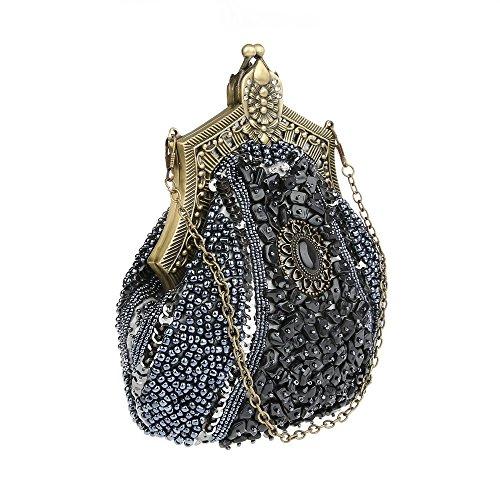 KAXIDY Damen Samen-Perlen Abendtasche Hochzeit Bead-hand-knit Abschlussball Party-Abend Handtasche Grau
