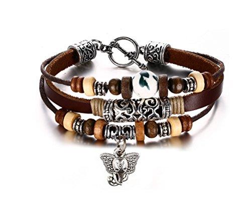 Vnox Damen Herren Armband mit Elefant-Anhänger Porzellan- und Holz-Perlen Geflochte Schnur aus Echtleder