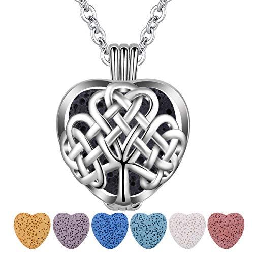 CELESTIA Ätherisches Öl Diffusor Halskette, Silber Keltische Baum des Lebens Medaillon Anhänger mit 7 Absorbierende Lava Steine und Kette, Aromatherapie Schmuck, Damen Geschenke