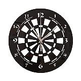 Cible De Fléchettes Sticker Mural Horloge Murale Quartz Acrylique Silencieuse Amovible Effet Miroir,Black,28 * 28cm