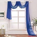 MIULEE Mantovana Tenda Trasparente Voile Decorazione da Finestra per Casa Soggiorono 140X550cm Blu