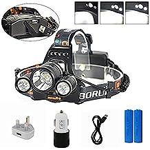Boruit Linterna Frontal Lámpara de Cabeza Adjustable 3 x T6 Faro de LED 6500 Lúmenes con 4  Tipos de Luz, Luz Ultra Brillante Alta Potencia USB Recargable Impermeable para Pesca Cámping, Enchufe UK