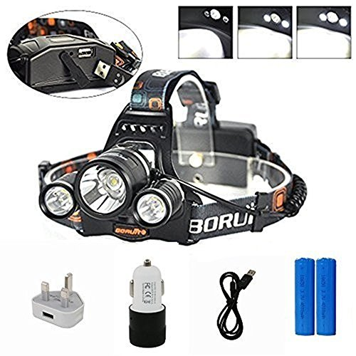 Boruit LED Head Torch with 4 Modes, 3x XM-L2 LED Headlight 5000 Lumens Rechargeable Headlamp Ultra Bright Flashlight Head Light for Climbing Cycling Fishing Hiking Camping