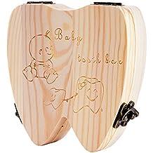 (5 estilos para elegir ) Cajita de Madera para Guardar los Dientes de Leche Caja de Organizador Almacenaje Regalo Recuerdo para Recién Nacidos Niños Niñas 5 Diseños