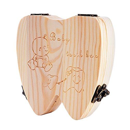 Holz Milchzähne Box für Kinder, Jungen / Mädchen Zahnbox Zahndose Milchzahndose Zahndöschen (unisex)