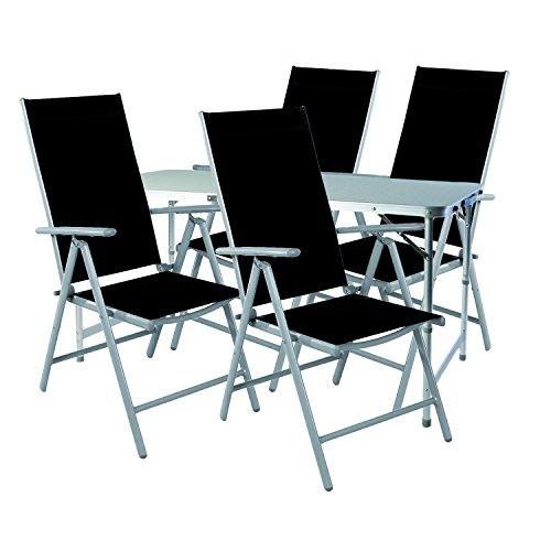 Mojawo 5-TLG. Campingmöbel Set Alu Camping 120x60x58/70cm 1x Campingtisch höhenverstellbar mit Tragegriff + 4 Klappstühle Aluminium/Textilen schwarz