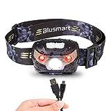 Stirnlampe LED, Stirnlampen Aufladbar USB Kopflampe 5 Modus, Led-stirnlampe Laufen Wasserdicht 150LM 1200mAH für Nachtlese Camping Joggen Angeln Abenteuer Bergsteigen Fahrrad, inklusive USB Kabel
