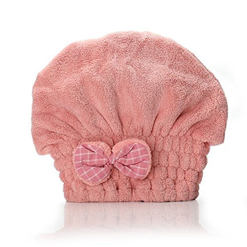 Happyit Nette Korallen Samt Weiches Haar Trocknen Kappe Hut Handtuch Super Magie Absorbieren für Frauen Mädchen Dame Bad Dusche (Rosa)