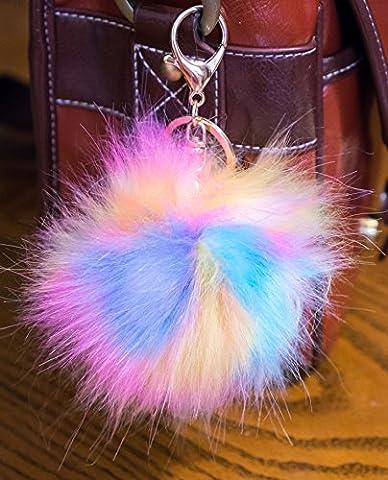 3 für 2! Pink & White With Random Rainbow Mixes großer, flauschiger Fell-Puschel im Waschbär-Look, mit goldenem (Kind Cat Girl Kostüm)