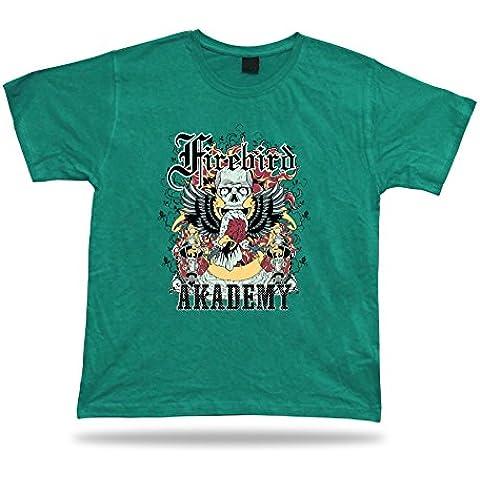 Tshirt Tee Shirt Idea regalo di compleanno Fire Bird Academy Aquila Skull Flames torcia