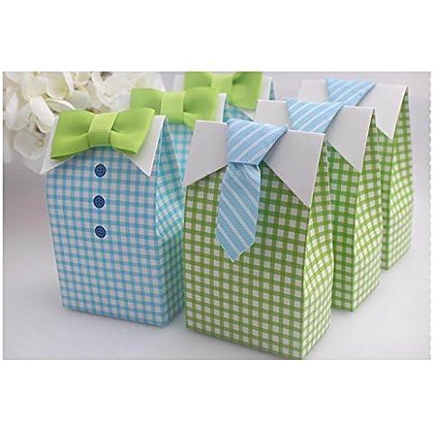 igbblove 20pcs Papillon Shirt da sposa matrimonio favore Box doccia partito Candy zucchero Scatole Regalo