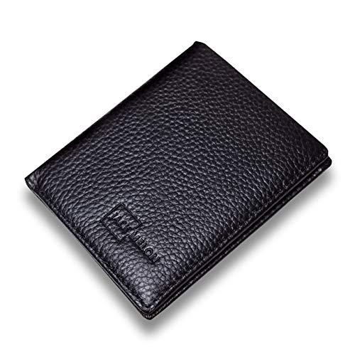 Herren Portemonnaie aus Echt-Leder ohne Münzfach mit RFID Schutz | Classic Slim Wallet von Jack Melon (Schwarz) -