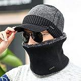 ERKEJI Wintermütze für Herren Herren Winter Hut Hals mit samt warme gestrickte Mütze Hals Baumwolle Wollmütze