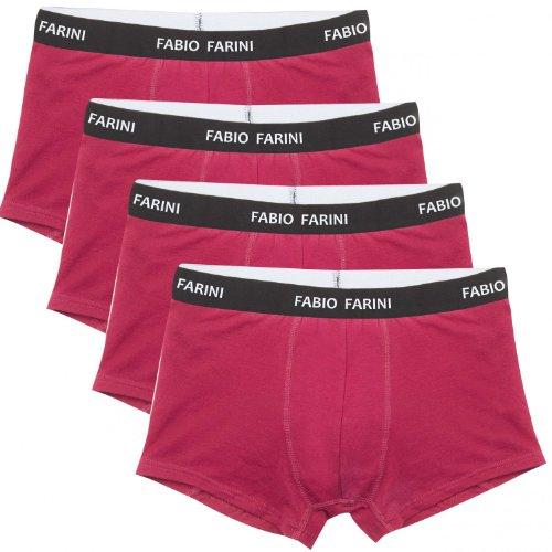 4er Pack Fabio Farini Boxershorts Baumwolle Herren Unterwäsche Pants, Größe:XL;Farbe:4x Rot