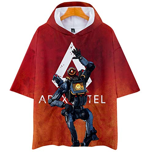 Apex Legends Unisex Casual Solid Color Printing Crewneck for Men and Women Short Sleeve Hoodie T-Shirt,H,XXXXL