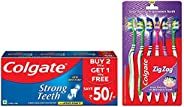 Colgate Strong Teeth Anticavity Toothpaste with Amino Shakti - 500gm and ZigZag Medium Toothbrush - Pack of 6