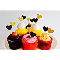 12 Mini Heart Gold & Black Glitter Cup Cake toppers valentines topper, wedding toppers, black heart topper, party, engagement toppers