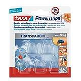 Tesa 58900-00014-01 Powerstrips und Haken für Dekorationen, 5 transparente Haken, 8 doppelseitige Klebestreifen, entfernbar