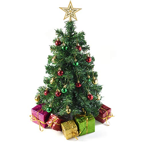 Arbre de Noël Miniature Prextex de 58 cm à Monter et à Poser sur Une Table, décoré de Paquets-Cadeaux, de Boules et d'Une étoile pour Le Sommet.