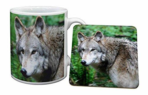 Advanta - Mug Coaster Set Grauer Wolf Becher und Untersetzer Tier Geschenk Wolf Coaster Set