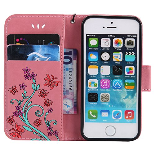 Cover iPhone SE, Custodia per Apple iPhone 5/5S, ISAKEN Custodia Fiore e Ragazza Design PU Pelle Book Folding Case Glitter Bling Cover, Supporto Stand e Porta Carte Integrati Portafoglio Flip Cover co Flowers: rosa