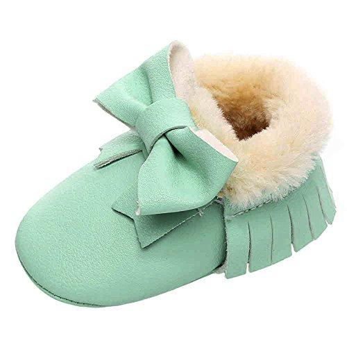 Botas De Neve Do Bebê Hunpta Bowknot Sapatos Soft-sola Botas Manjedoura De Algodão Da Criança (idade: 6 ~ 12 Meses, Vermelho) De Hortelã Verdes
