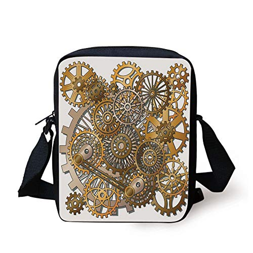 Clock Decor,The Gears in The Style of Steampunk Mechanical Design Engineering Theme,Gold and Brown Print Kids Crossbody Messenger Bag Purse
