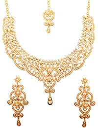 Touchstone - Parure de mariage indien de style Bollywood avec filigrane fin  et fausses perles blanches 8541baa2092