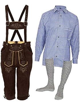 MS-Trachten Trachtenset Herren Lederhose Trachtenhose mit Hemd und Strümpfen