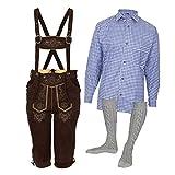 MS-Trachten Trachtenset Herren Lederhose Trachtenhose mit Hemd und Strümpfen (60, blau)
