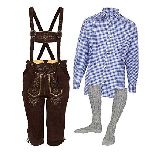 MS-Trachten Trachtenset Herren Lederhose Trachtenhose mit Hemd und Strümpfen (54, Blau)