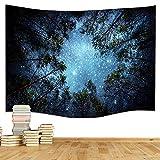 Dremisland Tapisserie wandteppich Psychedelic Wald Bäume und Sterne Sternenhimmel schöne Wand hängende Hausdekor Bettdecke Decke tuch wandtuch wandbehang Tapestry Star(M/203*153cm(80