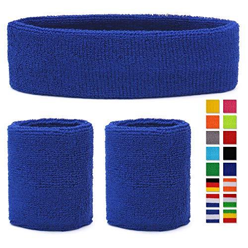 HikBill Schweißbänder Set inkl Sport Stirnband und Handgelenk Schweißbänder für Laufen Fahrrad Joggen Tennis Fußball (Blue 2)