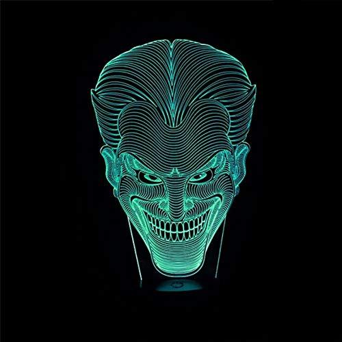 chenk Jack Lächeln Gesicht 3D Lampe Film Charakter Lachen Joker Schreibtischlampe Mit 7 Farben Nachtlicht Halloween Licht-fernbedienung ()