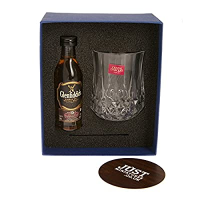The Wee Dram Whisky Gift with Glenfiddich Miniature, Glass & Coaster