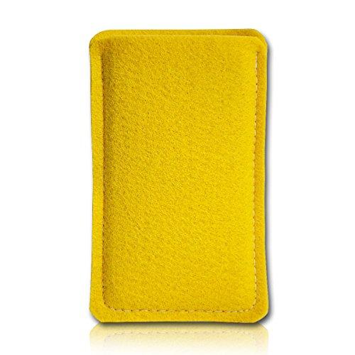 Filz Style Wiko Riff Premium Filz Handy Tasche Hülle Etui passgenau für Wiko Riff - Farbe gelb