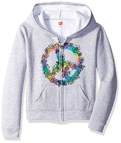 Hanes Big Girls' Ecosmart Graphic Full-Zip Fleece Hoodie, Light Steel, S Graphic Full Zip Hoodie